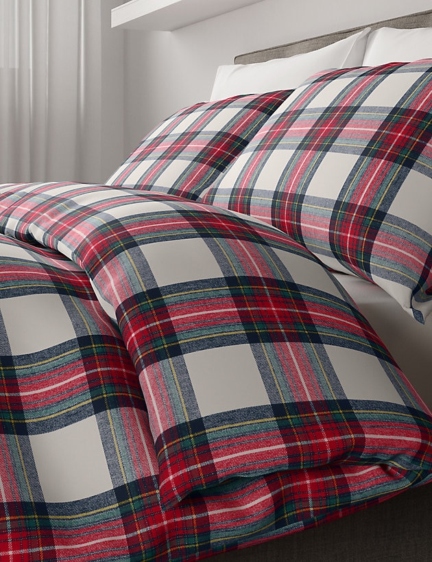 Best Christmas bedding. M&S brushed tartan.