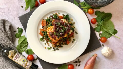 Pan fried halloumi with caramelised red onion and lentils recipe