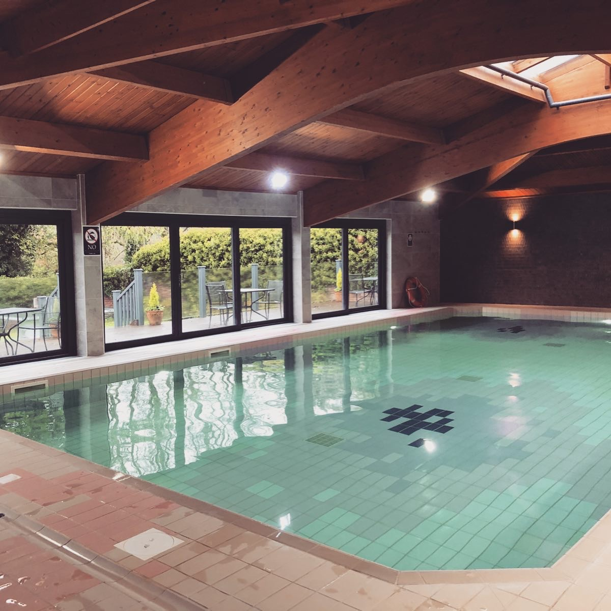 AD: Landal Sandybrook Peak District family review - a relaxing autumnal long weekend break. The heated pool at Landal Sandybrook, Peak District.