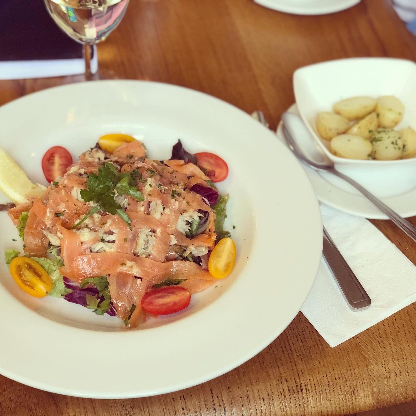 The Rose and Crown, seafood salad.