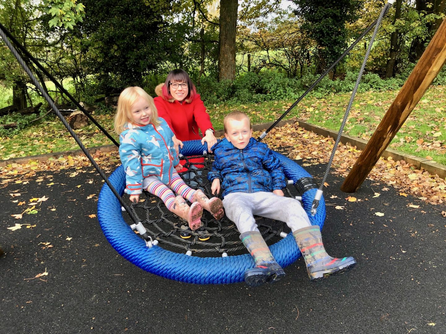 AD: Landal Sandybrook Peak District family review - a relaxing autumnal long weekend break. The swing in the playground at Landal Sandybrook.