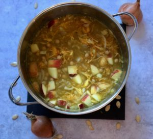 One pot pumpkin soup with apple, lentils and chickpeas - pre-blended soup