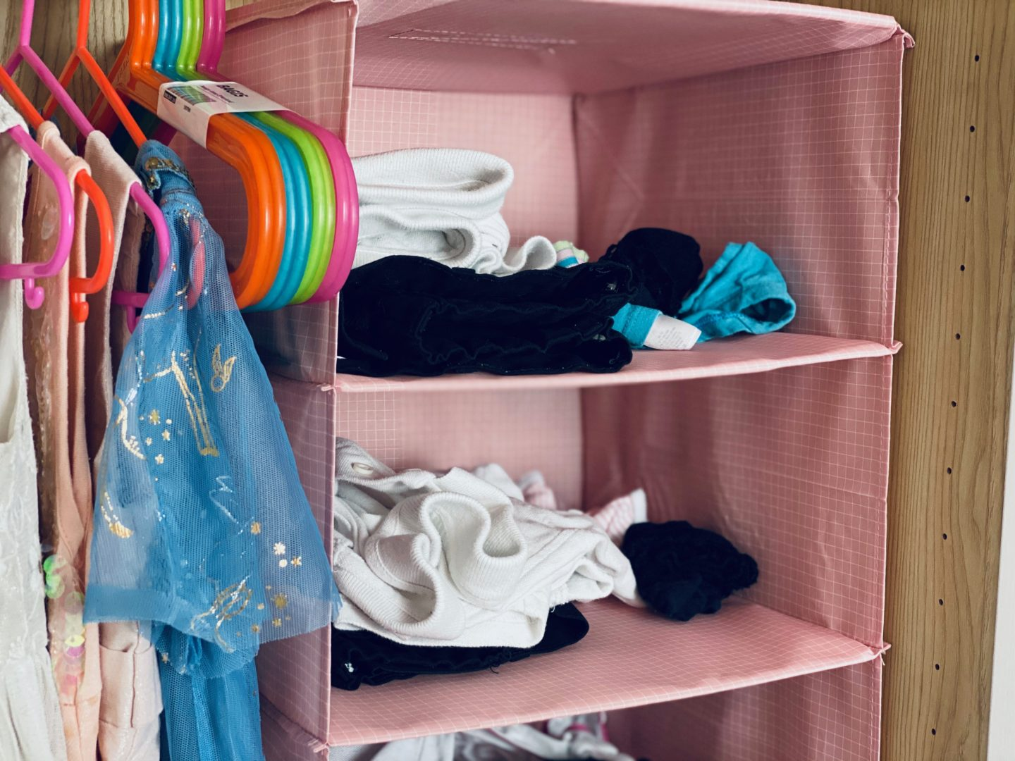 AD: Taking back control of mornings for only £51.75 with IKEA organisation hacks. Kid's wardrobe with hanging organiser hack.
