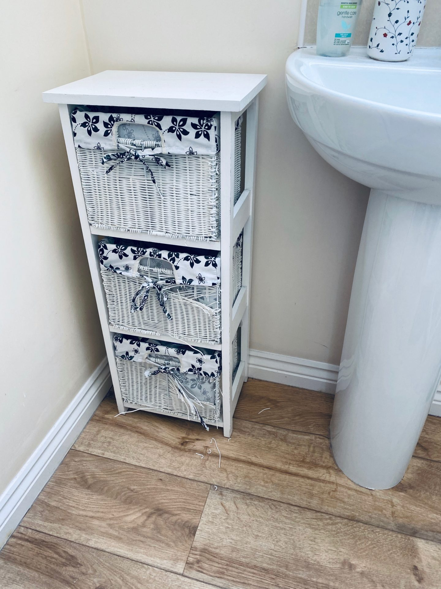 AD: Taking back control of mornings for only £51.75 with IKEA organisation hacks. Bathroom pre IKEA items, old chest of drawers that were falling apart.