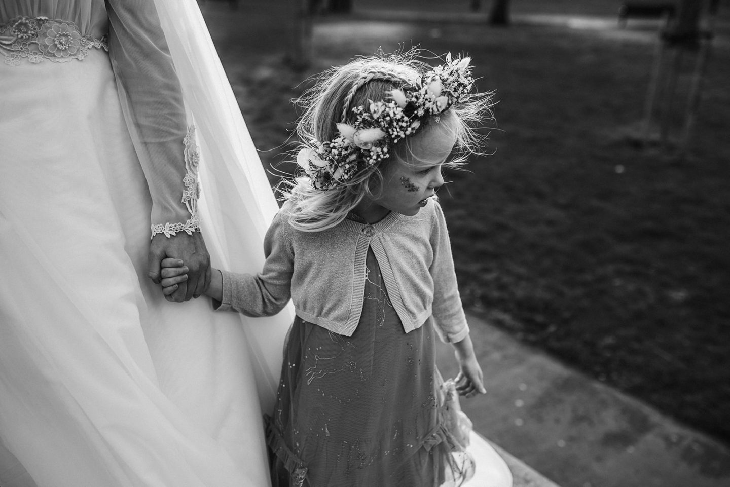 Letters to Lena - on your 5th birthday: Nyomi and Lena holding hands on mother's wedding day