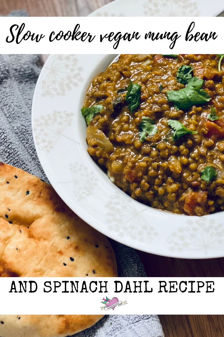 A slow cooker vegan mung bean and spinach dahl recipe that contains 3 of your 5 a day and 15g of protein that you can make for roughly £3.