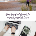 A Pinterest image that has a man carrying a child on a beach and a woman working on a laptop at a desk with the text, 'your legal entitlement to unpaid parental leave'