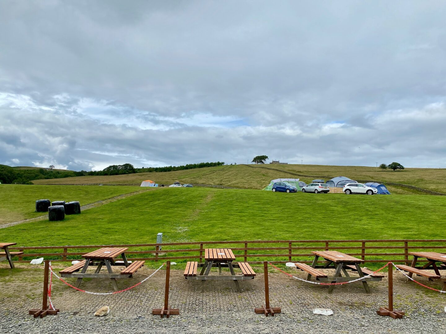 4 picnic tables at the Boe Rigg campsite