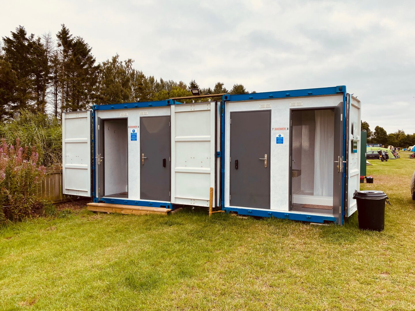 A shower block made from a converted shipping container