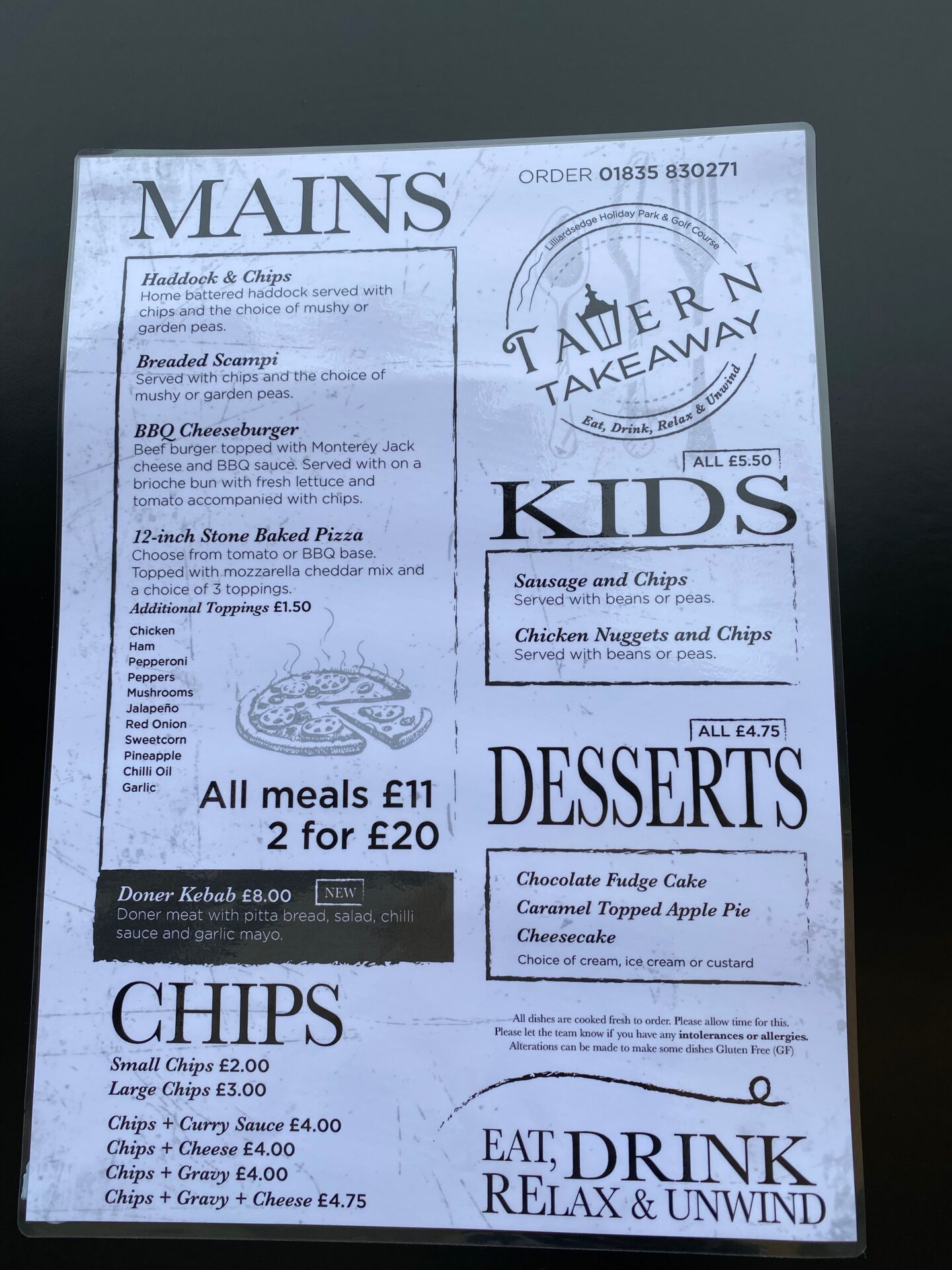 A takeaway menu featuring pizzas 2 for £20 or £11 each, kids meals £5.50 and chips etc.