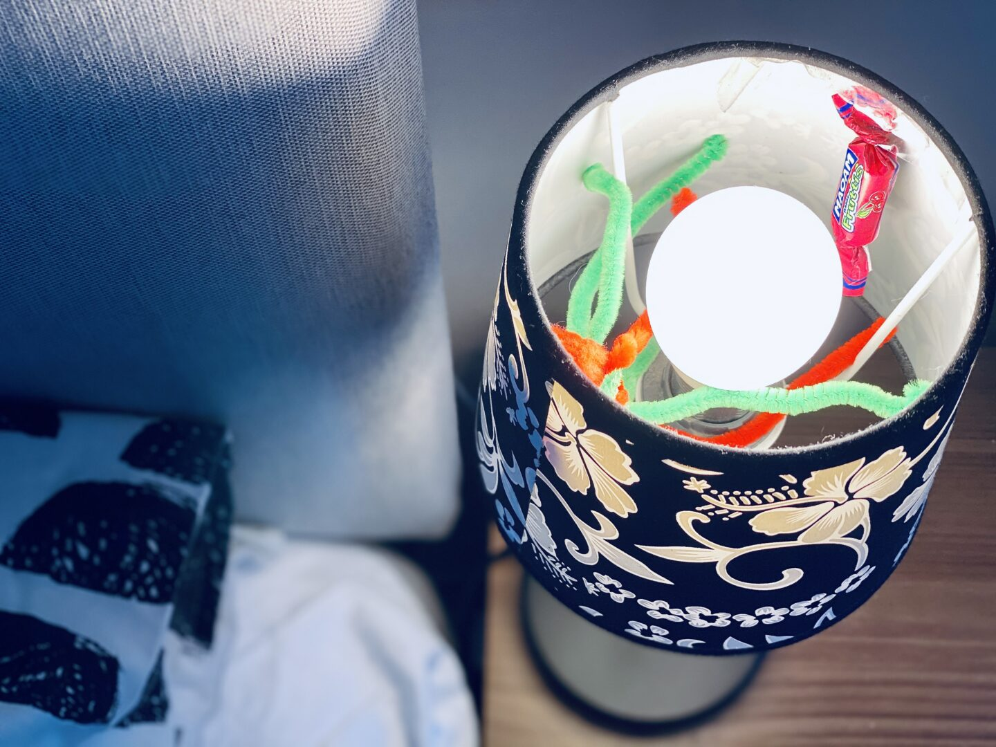 A pipe cleaner spider and Maoam inside a lampshade