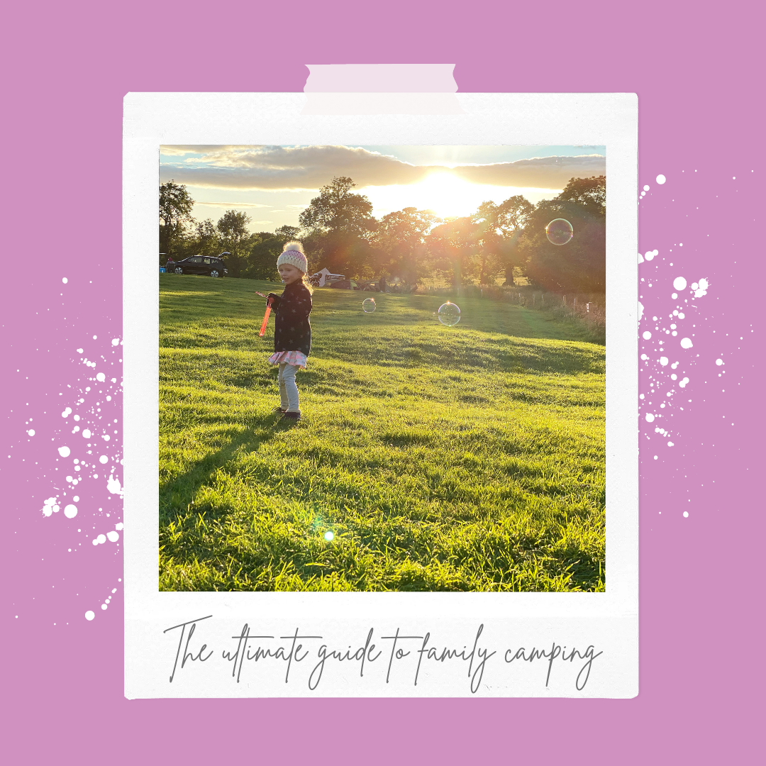 A polaroid of a young girl blowing bubbles on a campsite at sunset
