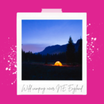 Photo of a tent glowing at dusk