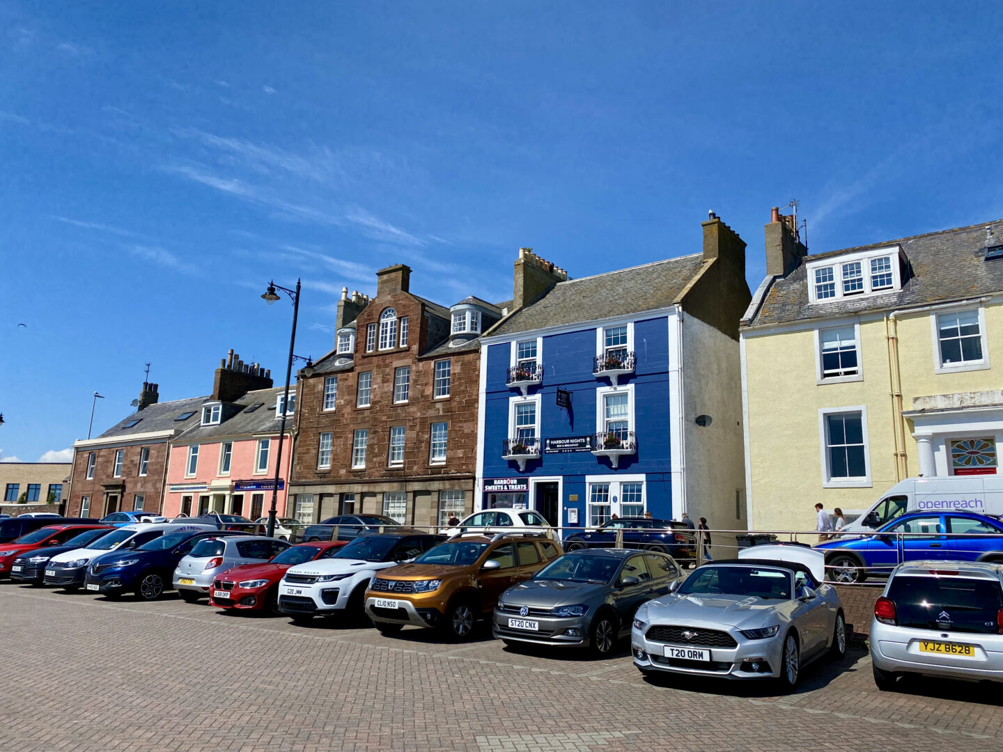 The shop fronts at Arbroath Harbour