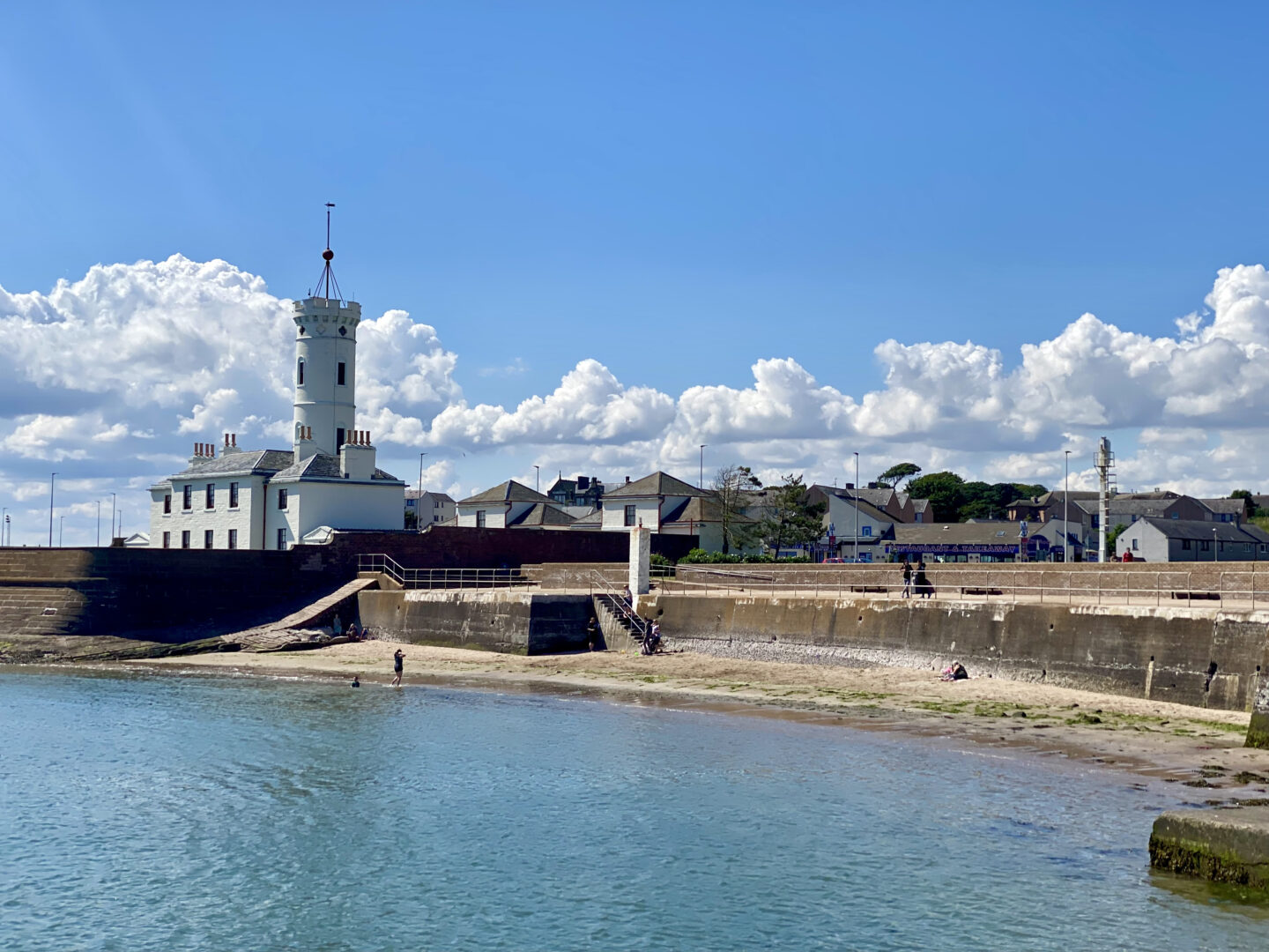 The signal tower and shoreline at Arbroath Harbour
