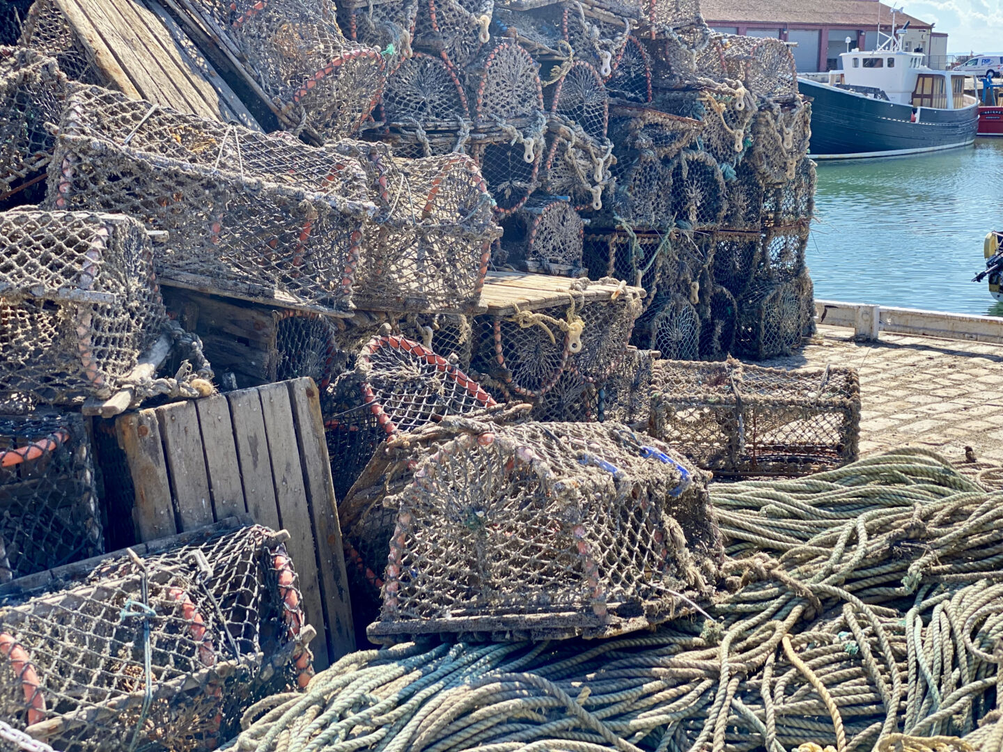 Fishing baskets at the Arbroath Harbour