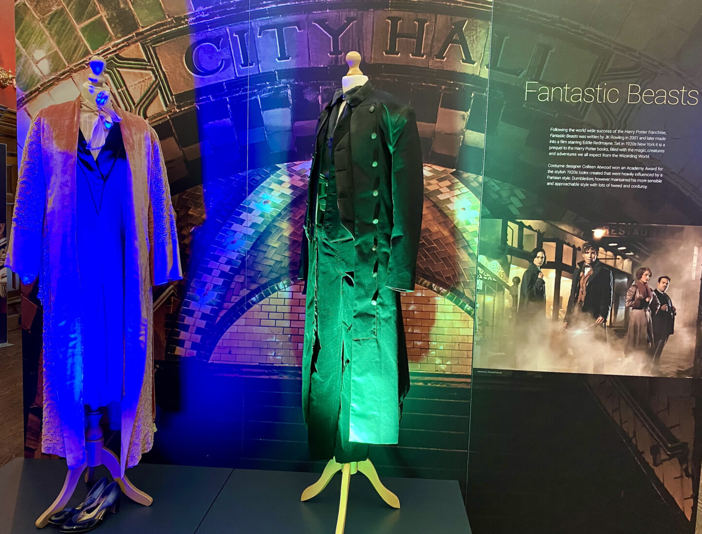 Newt Scamader's outfit from Fantastic Beast on display at Behind the Seams at Preston Park Museum