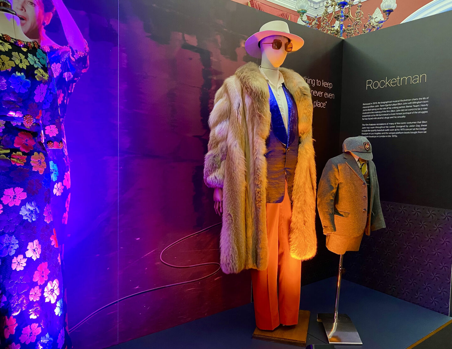 Flamboyent fur coat and hat outfit from Rocket Man
