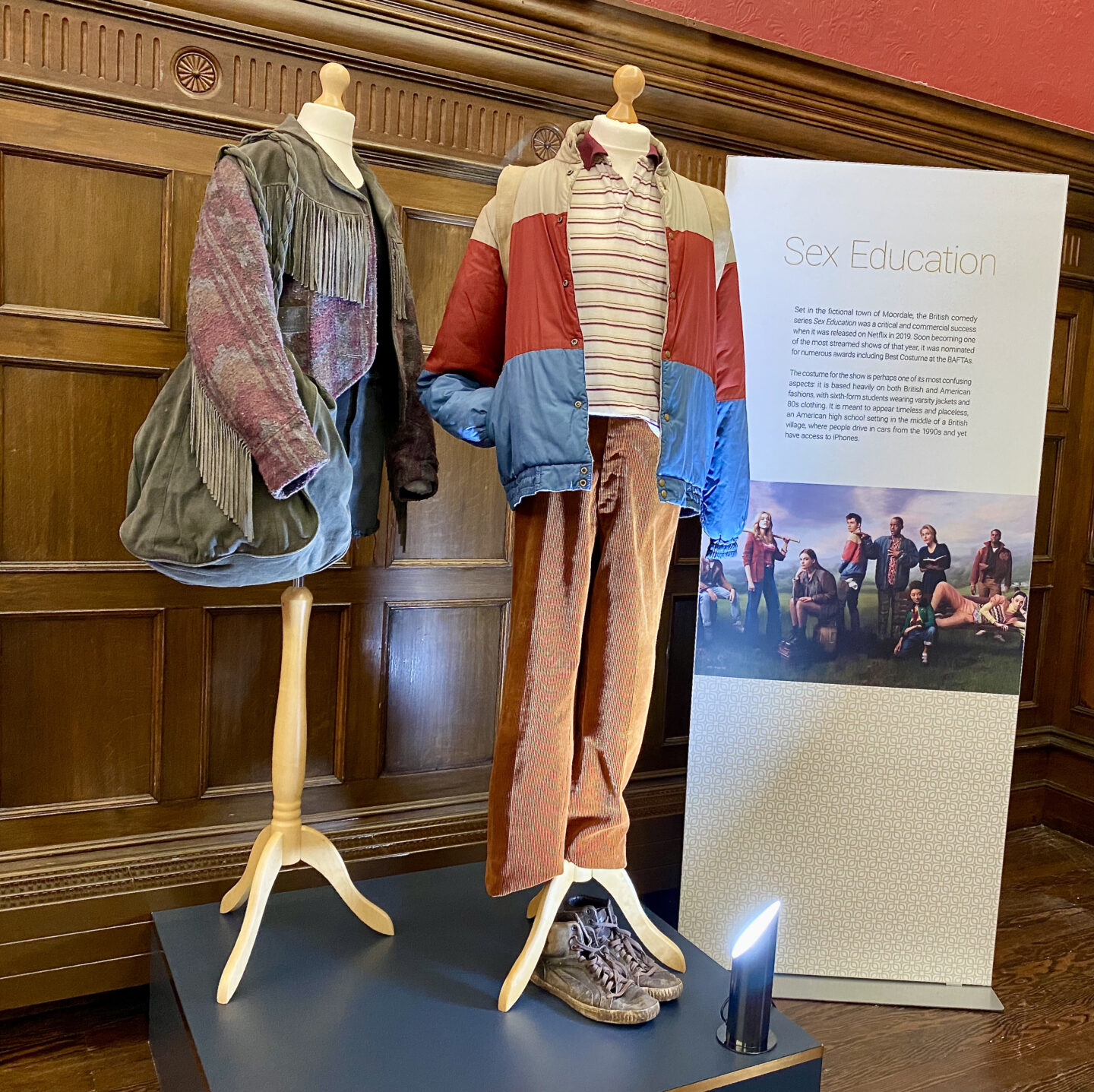 Maeve and Otis' outfits from Sex Education on display at Behind the Seams at Preston Park Museum