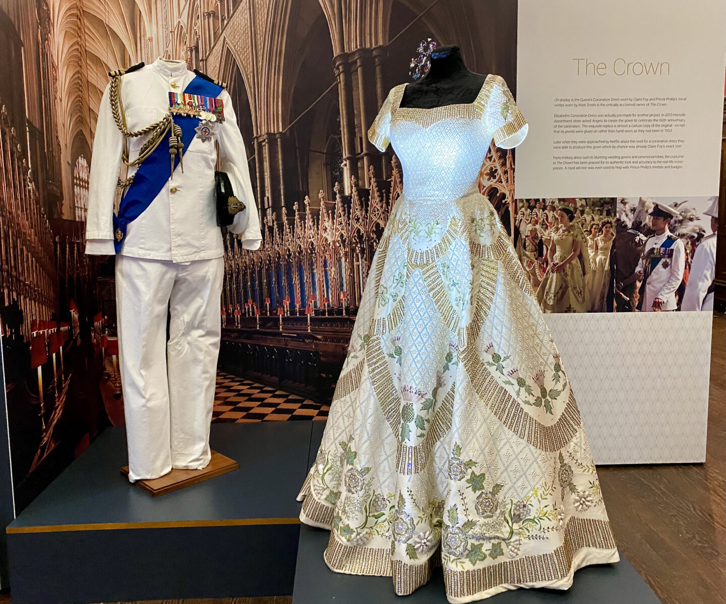 A replica of the Queen and Prince Phillips coronation outfits